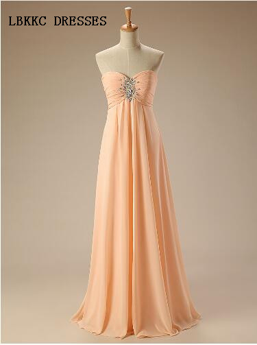 Peach Bridesmaid Dresses Long Chiffon Formal Gown Brautjungfernkleid ...