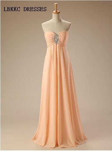 Peach Bridesmaid Dresses Long Chiffon Formal Gown Brautjungfernkleid Floor Length Party Dresses Wedding Guest Dresses