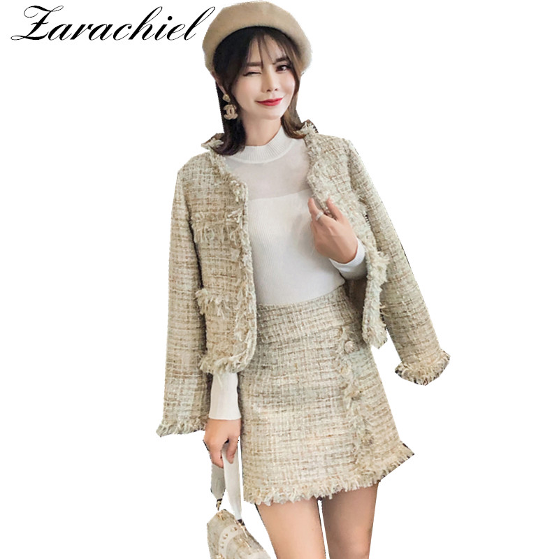 Elegant Women Two Piece Set Tweed Jacket and Gold Button Skirt Suit Set 2019 Winter Long