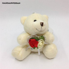 HANDANWEIRAN 1Pcs New Kawaii 9CM Flowers Bear Plush Stuffed Toys Lovely Bow Tie Pendants Toy Valentine Gift PP Cotton