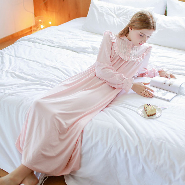 Spring and summer vintage royal long-sleeve nightgown long design 100% cotton fashion female hepburn women's lounge