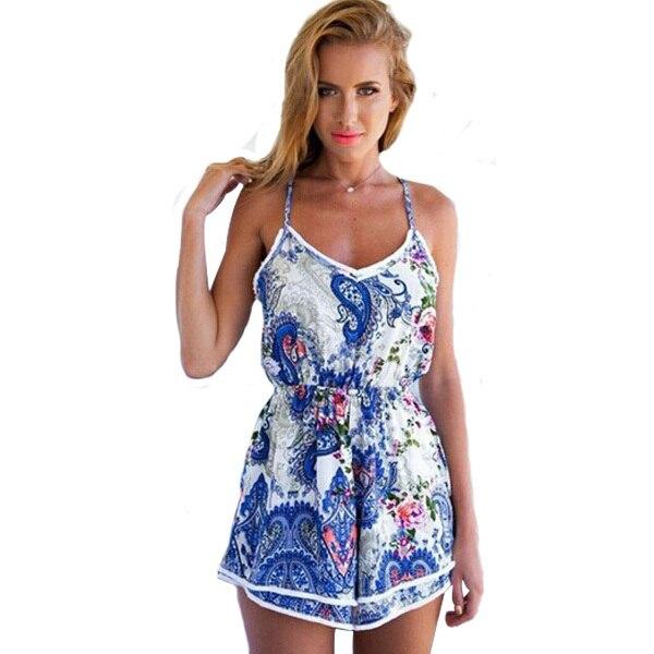 2720e7dda6b Jumpsuit Women Combinaison Short Sexy 2015 Rompers Beach Casual Sleeveless Summer  Overalls Flowers Print Woman Playsuit HY826