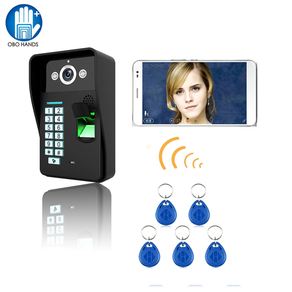 HD 720P Wireless WIFI RFID Fingerprint Video Door Phone Doorbell Intercom System IR Night Vision Waterproof for Access Control fingerprint recognition wifi wireless video door phone doorbell home intercom system ir rfid camera