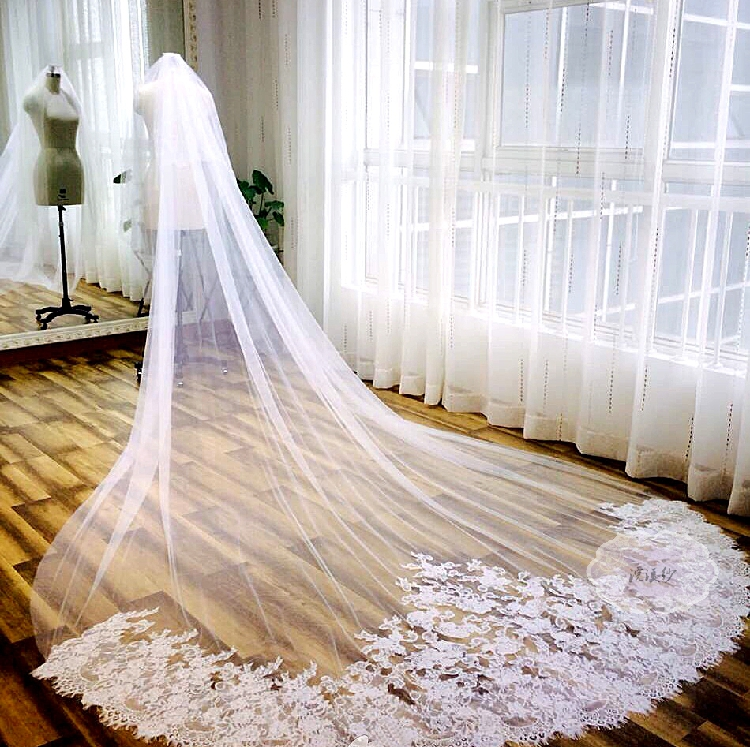 Aliexpress Buy High Quality Real Photos Lace Appliques One Layer Tulle Long Wedding Veils Cathedral Ivory Bridal Veil From Reliable