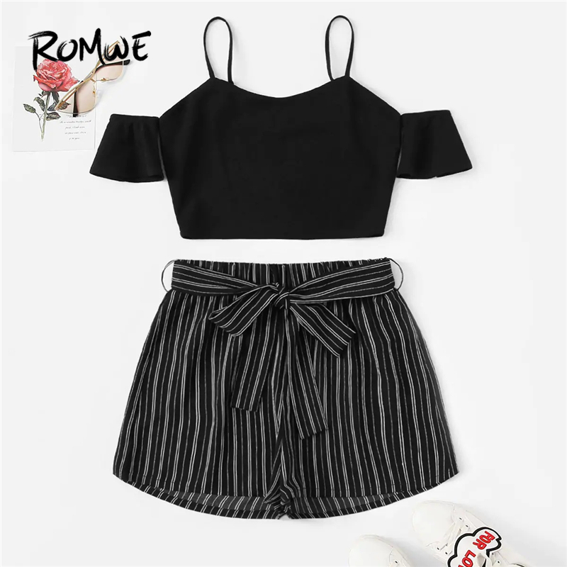 ROMWE Cold Shoulder Striped Crop Top Belted Pinstripe Shorts Set Sexy Black Summer Spaghetti Strap Set Women Two Piece Set
