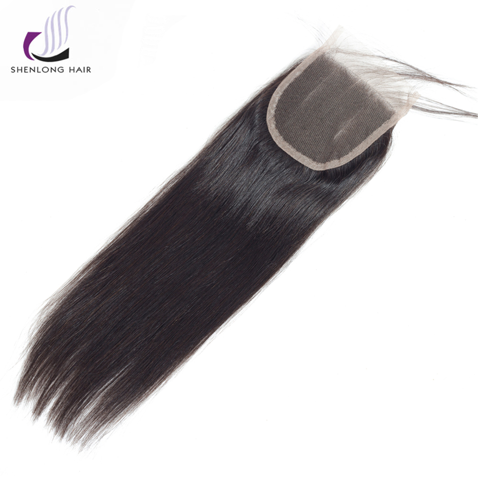 SHENLONG HAIR Peruvian Straight Hair Lace Closure Free/Middle/Three Part Non Remy Human Hair 4*4 Inch Swiss Lace Free Shipping