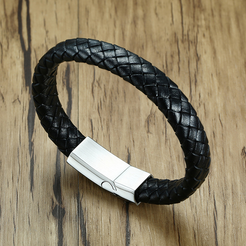 Meaeguet Black Braid Genuine Leather Medical Alert ID Bracelet Magnet Buckle Stainless Steel Bangle for Men Jewelry Wristband (8)