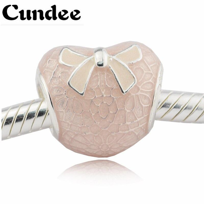 สีชมพูโบว์และลูกไม้ลูกปัดหัวใจพอดียุโรปเสน่ห์สร้อยข้อมือสำหรับผู้หญิงเงิน925ต้นฉบับBijouterieแ...