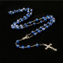 8mm Color Rose Beads Rosary Pendant Necklace Alloy Cross Virgin Mary Center Accessories Christian Catholic Religious Jewelry