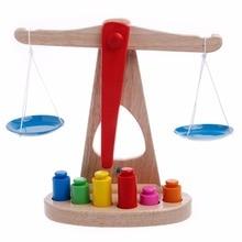 Монтессори Обучающие Детские раннего развития весы Забавный баланс игра деревянная игрушка
