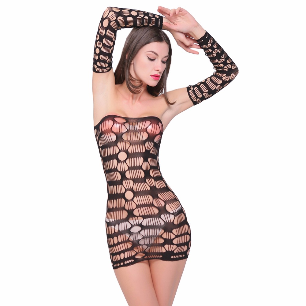 2017 Hot Promoted Sexy Women Underwear Lady Lace Sexy Lingerie Transparent Conjoined Dress Suit NightWear Club Dress Fishing Net