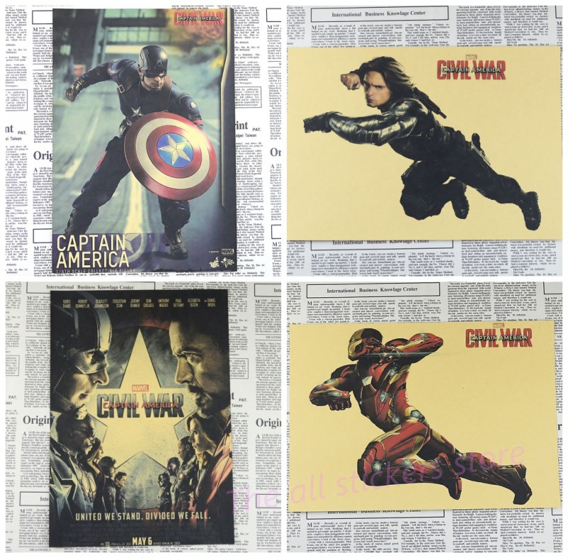 US $1 68 |Captain America poster Civil War Part 1 Vintage Retro Matte Kraft  Paper Antique Poster pub the coffee house Wall Sticker /1001-in Wall