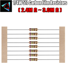 100pcs 1 4W 5 Carbon Film Resistor 2 4M 2 7M 3M 3 3M 3 6M
