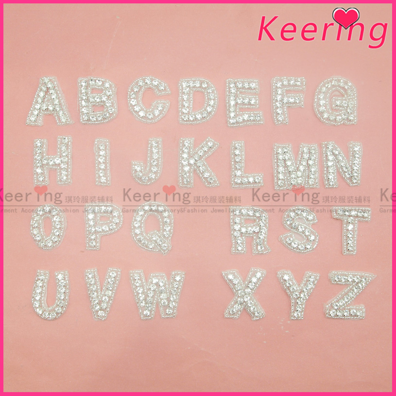 Keering A Set Of Beaded Rhinestone Iron On Letters Patches For Clothes E42527