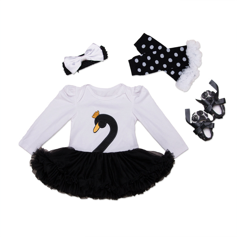 2017 Spring Fashion Baby Clothes Swan Newborn Romper Do Beb Menia With Tutu Dress+Headband+Shoes+Legging 4pcs/set Baby Clothing absorba baby boys newborn g velour tutu legging set