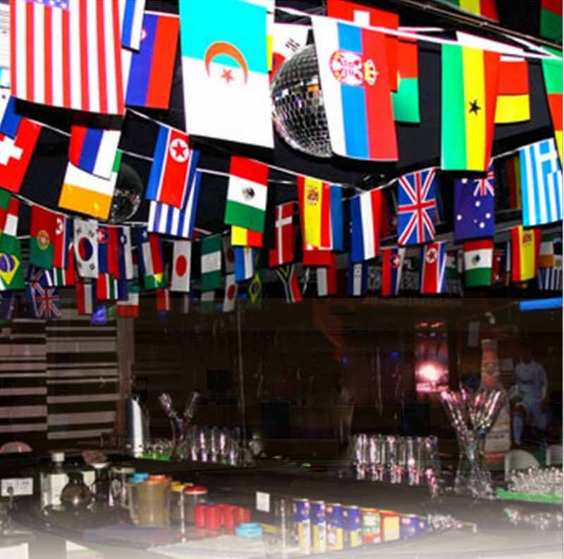100pcs country string flags 25 meters international world for International party decor