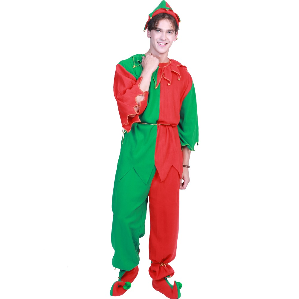 Christmas elves costumes Men Women Christmas Halloween Costume Long Sleeve Green and Red Boy Girl Elf Dress KIDS