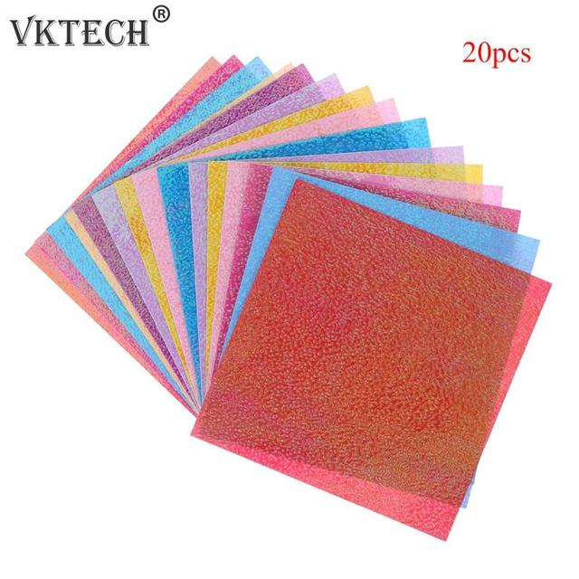 20pcs Craft Paper Shining Square Solid Origami Paper Folding Solid