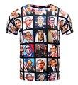 Новые Поступления смешные emoji футболка 3D печати Обама смайлики футболки с коротким рукавом летние топы для мужчин женщин случайных уличной