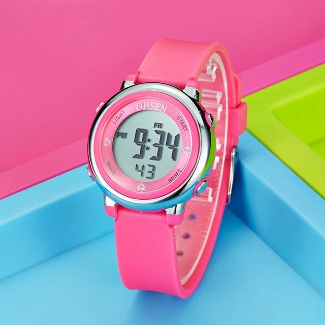 Fashion Design OHSEN Digital Horloge Child Kids Wristwatch Child Girls Silicone Strap 50M Swim Dive Sport Watch Alarm Clock Gift