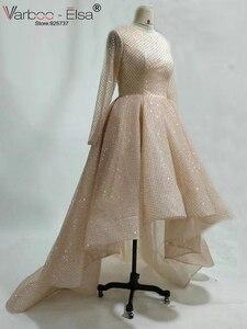 Image 3 - VARBOO_ELSA 2018 mode femmes à manches longues haute basse robe de soirée Champagne robe de bal en paillettes courte devant longue dos robe de soirée