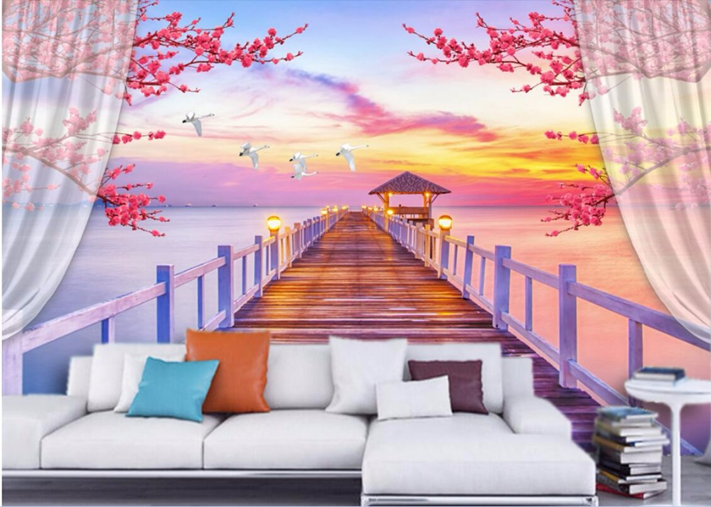 Custom photo mural 3d room wallpaper The wooden bridge flowers landscape painting 3d wall murals wallpaper for wall 3 d custom baby wallpaper snow white and the seven dwarfs bedroom for the children s room mural backdrop stereoscopic 3d