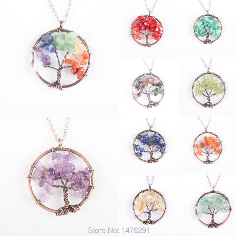 Mixed Crystal Stone Tree Of Life Pendant Copper Crystal Natural Stone Pendant Women Gift  1PCS (No Chain)