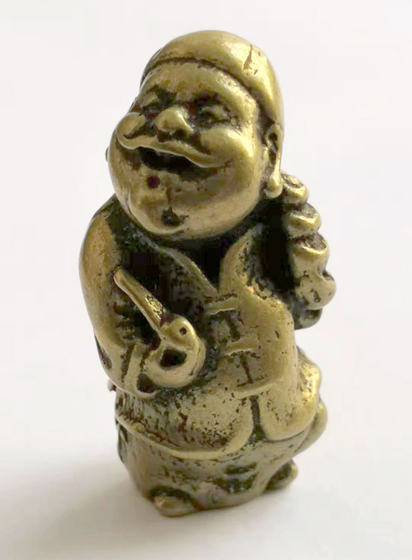 (mini) Delicate Interessante Chinesischen Alten Stil Messing Geschnitzt Wohlhabenden Alten Mann Auspicious Statue Lange Lebensdauer