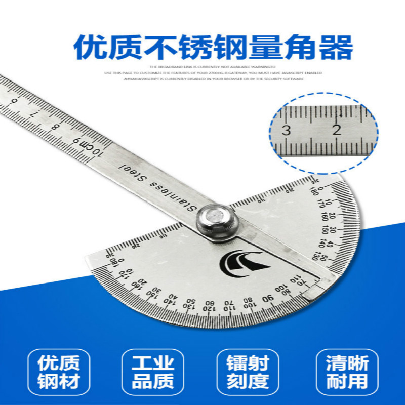 High Quality Stainless Steel Angle Ruler  Gauge 180 Degree 0-10CM Adjusting Semicircle Divider Multi Function Protractor
