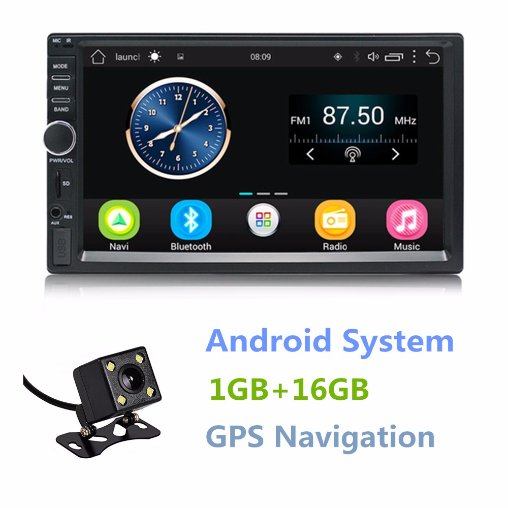 Double Din Android 6.0 Quad Core 1GB+16GB Car Stereo 7 inch 1024x600 Touch Screen Head Unit GPS Navigation Bluetooth Wifi AM/FM
