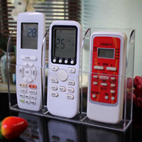 3 Slot Clear Acrylic Home Wall Mounted Desk TV Air Conditioner Remote Control Storage Holder Organizer