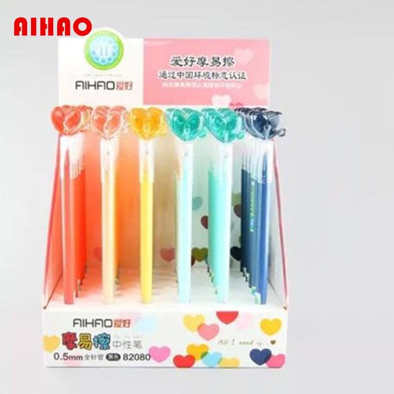 AIHAO Brand 12pcslot Heard Design 0.5mm Cute Gel Pen Magic Erasable Pen Stationery Office & School Supplies Free Shipping