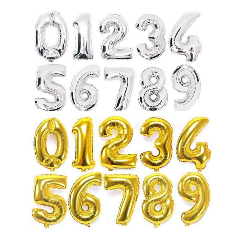 32Inch Digit 0-9 Number Foil Balloons Birthday Party Ballons Wedding Event Say Love Decorations Supplies Gold Silver Available