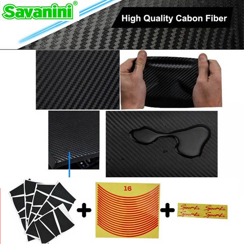 Savanini Car-Styling 1set 15 Inches Carbon Fiber Wing Wheels Mask Decal Sticker Trim For Mitsubishi Lancer E Style