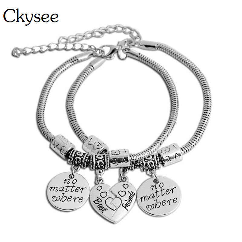 Ckysee 2Pcs/lot Adjustable Best Friends Charm Bracelet Set For Women Half Heart Friendship Bracelet Engraved No Matter Where