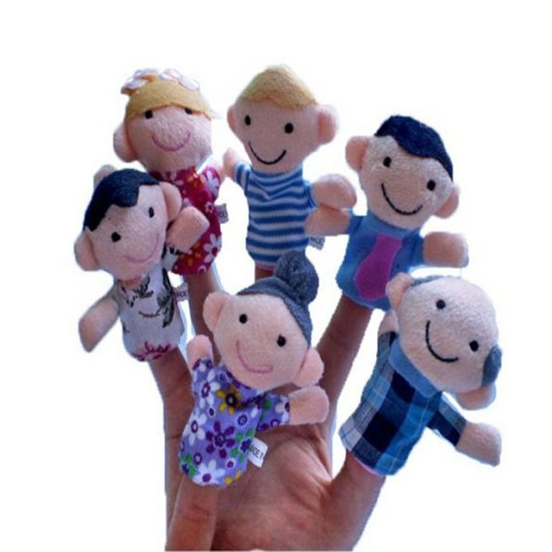 Funny 6PCS /Set Baby Kids Plush Cloth Play Game Learn Story Family Finger Puppets Toys