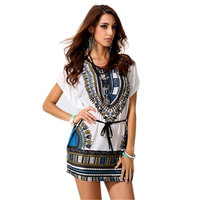 New Summer Ice Silk Women T Shirt Waist Bat Sleeve Printing T Shirt Plus Size