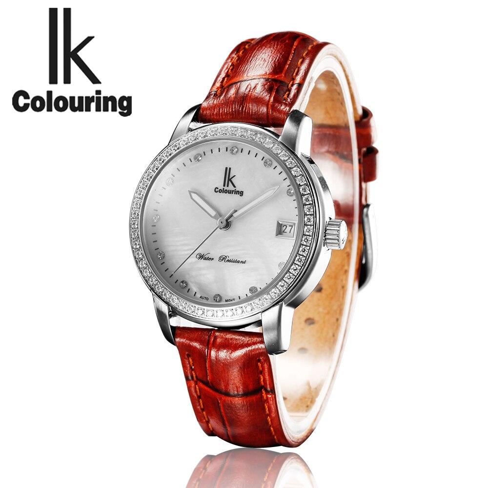 Relogio Feminino Dames Automatische Diamant Horloges Vrouwen Waterdicht Mechanische Horloges Beroemde Top Merk IK Colouring Horloges-in Dameshorloges van Horloges op  Groep 1