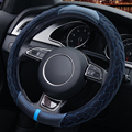 LOEN Car Winter Steering Wheel Cover Faux Fur Steering Wheel Cover Genuine Leather Steering Wheel Cover Soft Classical Red/Blue
