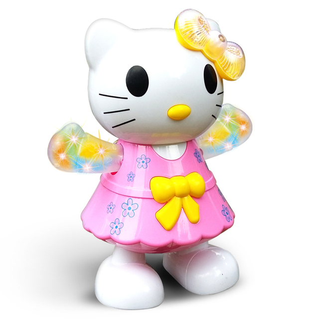 Детская Игрушка Hello Kitty KT Кошка с Музыкой Образовательные Музыкальные Игрушки Огни для Ребенка Ходьбе и Ползающих Электронные Домашние Подарки