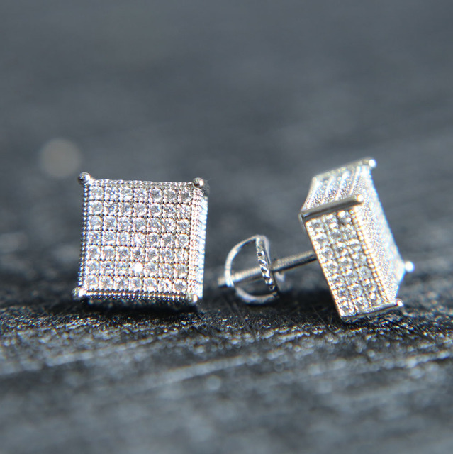 2017 Mens Bling Ear Jewelry 3 Colors Back Micro Pave Cz Earring For Men