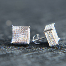 2017 mens big bling ear jewelry 3 colors screw back micro pave cz earring for men