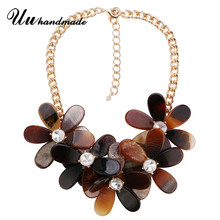 Necklace vintage Ethnic Acrylic Flower Pendant necklaces Choker Collar Chokers Maxi Pendant Collier Fashion Jewelry for women(China)