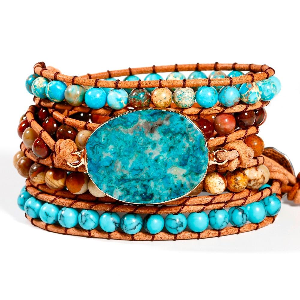 Women Wrap Bracelets Natural Stone Weave Boho Multilayers Leather Bracelets