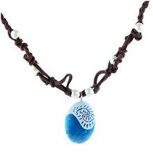 Moana corrente de corda de oceano, colares e pingentes de pedra azul, gargantilha de couro de camurça, joias para mulheres e meninas, presentes