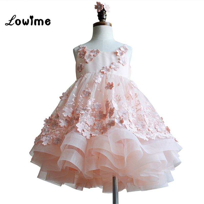 Lovely Pink   Flower     Girl     Dresses   With Lace Applique Robe Fille Enfant Mariage De Soiree Cheap Communion   Dresses     Girls     Dresses