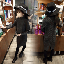 New 2016 Winter Girls Thicken Thicken Kids Mid-long Sweater Children Jag Style Shirt Dress Baby Fashion Clothes,2-7Y