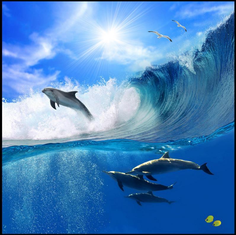 ФОТО 3d living room floor murals custom 3d floor dolphin waves seagull self adhesive waterproof pvc self-adhesive floor