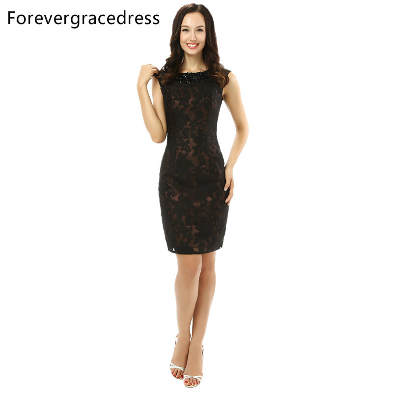 Forevergracedress 2018 Straight Black Cocktail Dress Sexy Lace Sleeveless Backless Evening Party Gown Plus Size Custom Made cocktail dress