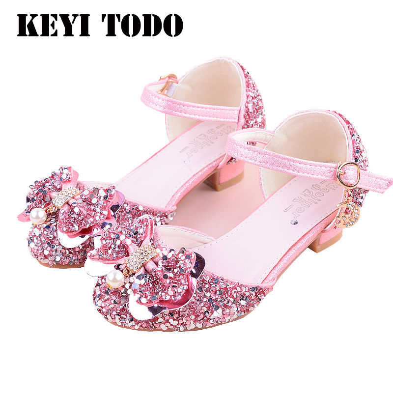 d8b5ce6e32 KEYITODO Girl Sandals 2019 summer new Bow tie Sequined shoes high Heel  Princess model performance Rhinestone sandals L142